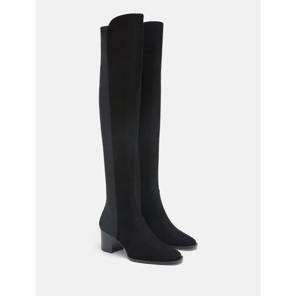 Zara Shoes - Zara Heeled Leather Black Boots 6.5